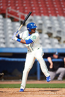 Hartford Yard Goats first baseman Correlle Prime (27) at bat during the first game of a doubleheader against the Trenton Thunder on June 1, 2016 at Sen. Thomas J. Dodd Memorial Stadium in Norwich, Connecticut.  Trenton defeated Hartford 4-2.  (Mike Janes/Four Seam Images)