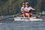 Rowing, 2011 FISA World Rowing Championships, Lake Bled, Bled, Slovenia, Europe, Rowing Canada Aviron, Aug 31, Quarter final, Canadian Lightweight men's pair, from stern: Morgan Jarvis (Winnipeg, MB) Kingston RC, Tim Myers (Penticton, BC) University of Victoria RC,