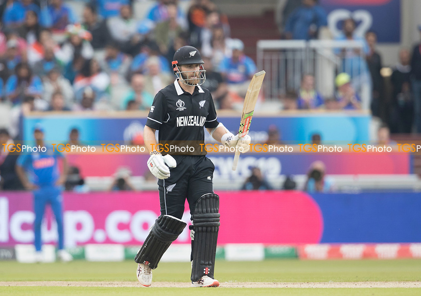 Kane Williamson (New Zealand) acknowledges his half century during India vs New Zealand, ICC World Cup Semi-Final Cricket at Old Trafford on 9th July 2019