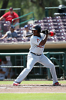 Henry Castillo (24) of the Visalia Rawhide bats against the Inland Empire 66ers at San Manuel Stadium on June 5, 2017 in San Bernardino, California. Visalia defeated Inland Empire, 9-1. (Larry Goren/Four Seam Images)