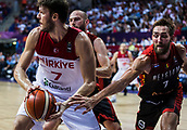 5th September 2017, Fenerbahce Arena, Istanbul, Turkey; FIBA Eurobasket Group D; Turkey versus Belgium; Power Forward Baris Hersek of Turkey in action against Power Forward Axel Hervelle #7 of Belgium during the match