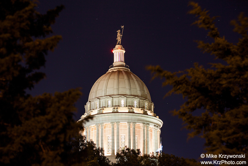 Oklahoma City Capitol Building at Night