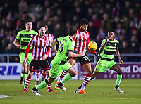 Lincoln City's Matt Green gets between Forest Green Rovers' Gavin Gunning, left, and Reece Brown<br /> <br /> Photographer Andrew Vaughan/CameraSport<br /> <br /> The EFL Sky Bet League Two - Lincoln City v Forest Green Rovers - Saturday 3rd November 2018 - Sincil Bank - Lincoln<br /> <br /> World Copyright © 2018 CameraSport. All rights reserved. 43 Linden Ave. Countesthorpe. Leicester. England. LE8 5PG - Tel: +44 (0) 116 277 4147 - admin@camerasport.com - www.camerasport.com
