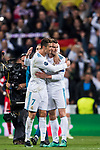 Cristiano Ronaldo of Real Madrid celebrates with teammate Gareth Bale after the UEFA Champions League Semi-final 2nd leg match between Real Madrid and Bayern Munich at the Estadio Santiago Bernabeu on May 01 2018 in Madrid, Spain. Photo by Diego Souto / Power Sport Images