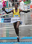 March 3, 2019, Tokyo, Japan - Kenya's Simon Kariuki crosses the finish line of the Tokyo Marathon 2019 in Tokyo on Sunday, March 3, 2019. Kariuki finished the fourth with a time of 2 hours 9 minutes 41 seconds.  (Photo by Yoshio Tsunoda/AFLO)
