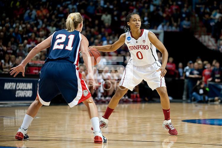 SPOKANE, WA - MARCH 28, 2011: Melanie Murphy, Stanford Women's Basketball vs Gonzaga, NCAA West Regional Finals at the Spokane Arena on March 28, 2011.