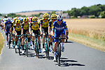 The peloton led by Deceuninck-Quick Step and Team Jumbo-Visma during Stage 4 of the 2019 Tour de France running 213.5km from Reims to Nancy, France. 9th July 2019.<br /> Picture: ASO/Pauline Ballet | Cyclefile<br /> All photos usage must carry mandatory copyright credit (© Cyclefile | ASO/Pauline Ballet)