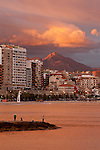 Sunset over Postiguet beach, alicante city, Spain