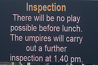 The giant screen shows that an inspection is due at 1.40pm during Yorkshire CCC vs Essex CCC, Specsavers County Championship Division 1 Cricket at Emerald Headingley Cricket Ground on 13th April 2018