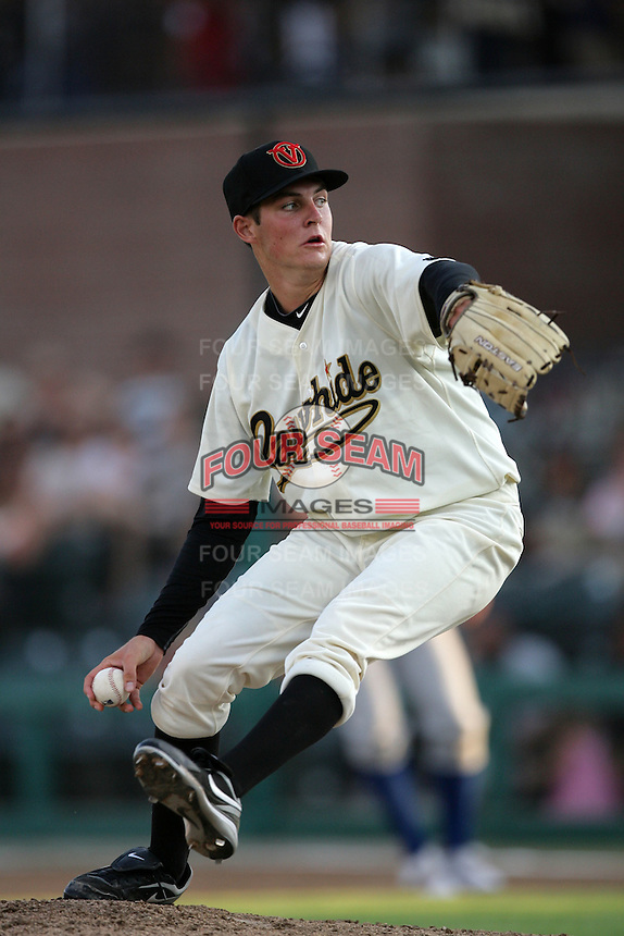 Visalia Rawhide pitcher Trevor Bauer #38 pitches against the Stockton Ports at Recreation Park on July 30, 2011 in Visalia,California. Visalia defeated Stockton 11-2.(Larry Goren/Four Seam Images)