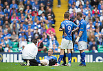 St Johnstone v Dundee United....17.05.14   William Hill Scottish Cup Final<br /> Steven Anderson is treated by physio Michael McBride after hurting his ankle<br /> Picture by Graeme Hart.<br /> Copyright Perthshire Picture Agency<br /> Tel: 01738 623350  Mobile: 07990 594431