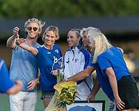 Allston, Massachusetts - August 4, 2017:  In a National Women's Soccer League (NWSL) match, Boston Breakers (blue) tied FC Kansas City (white), 2-2, at Jordan Field.<br /> Selfie. Julie King celebrates with family team appearance record surpassing Kristine Lilly.
