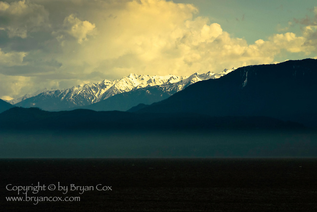 The Olympic mountains as seen from Vancouver Island, BC