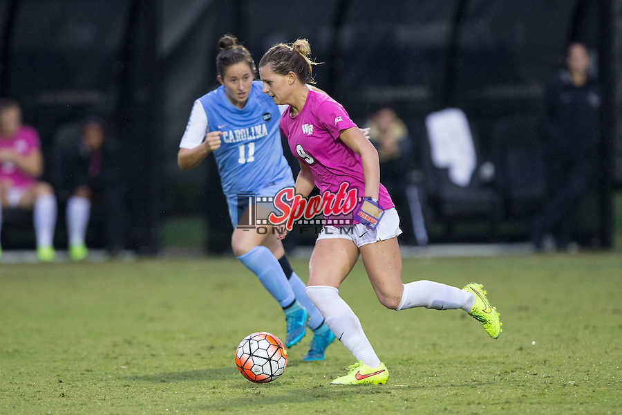 Bayley Feist (9) of the Wake Forest Demon Deacons pushes the ball up the field during second half action against the North Carolina Tar Heels at Spry Soccer Stadium on September 27, 2015 in Winston-Salem, North Carolina.  The Tar Heels defeated the Demon Deacons 1-0.  (Brian Westerholt/Sports On Film)