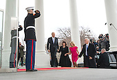 United States Vice President Joe Biden and his wife Jill walk with Vice President-Elect Mike Pence and his wife Karen as they arrives at the White House prior to the inauguration in Washington, D.C. on January 20, 2017. Later today Donald Trump will be sworn-in as the 45th President. <br /> Credit: Kevin Dietsch / Pool via CNP