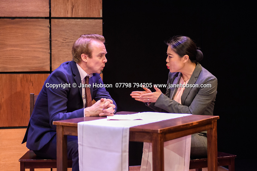 """CHINGLISH, by David Henry Hwang, opens at the Park Theatre. Directed by Andrew Keates, with lighting design by Christopher Nairne and set and costume design by Tim McQuillen-Wright. Picture shows: Gyuri Sarossy (Daniel), Candy Ma (Xi Yan)"