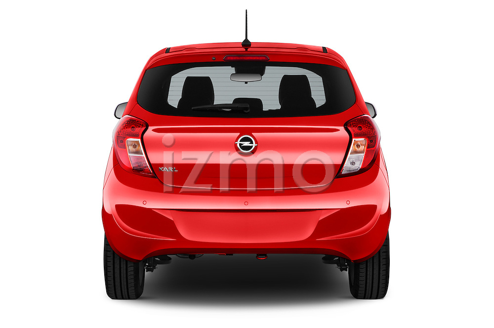 Straight rear view of 2016 Opel Karl Cosmo 5 Door Hatchback Rear View  stock images