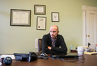 Attorney Brian Vicente (cq), at his office in Denver, Colorado, Tuesday, December 23, 2014. Vicente works on marijuana related issues. <br /> <br /> Photo by Matt Nager