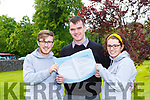 JP Reen, Evan Kissane and Chloe McCarthy Killarney Community College students with the Leaving Cert paper on Wednesday