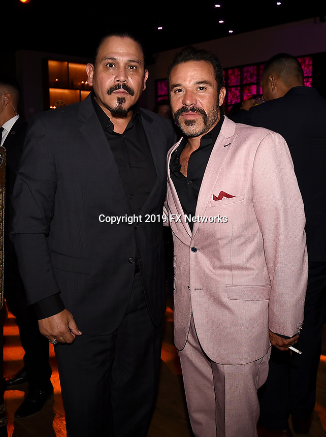 """LOS ANGELES - AUGUST 27: (L-R) Emilio Rivera and Michael Irby attend the post party at Sunset Room Hollywood following the season two red carpet premiere of FX's """"Mayans M.C"""" on August 27, 2019 in Los Angeles, California. (Photo by Frank Micelotta/FX/PictureGroup)"""
