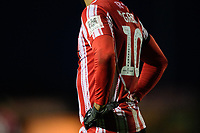 A close up of the University of Lincoln sleeve badge on the arm of the shirt worn by Lincoln City's Matt Green for Emirates FA Cup games<br /> <br /> Photographer Chris Vaughan/CameraSport<br /> <br /> The Emirates FA Cup Second Round - Lincoln City v Carlisle United - Saturday 1st December 2018 - Sincil Bank - Lincoln<br />  <br /> World Copyright © 2018 CameraSport. All rights reserved. 43 Linden Ave. Countesthorpe. Leicester. England. LE8 5PG - Tel: +44 (0) 116 277 4147 - admin@camerasport.com - www.camerasport.com