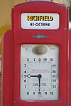 Historic 1934 Atlantic Richfiled gas station with dial gas pump in Coalinga, Calif.