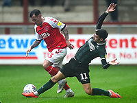 Fleetwood Town's Ross Wallace is challenged by Plymouth Argyle's Ruben Lameiras<br /> <br /> Photographer Richard Martin-Roberts/CameraSport<br /> <br /> The EFL Sky Bet League One - Fleetwood Town v Plymouth Argyle - Saturday 16th March 2019 - Highbury Stadium - Fleetwood<br /> <br /> World Copyright © 2019 CameraSport. All rights reserved. 43 Linden Ave. Countesthorpe. Leicester. England. LE8 5PG - Tel: +44 (0) 116 277 4147 - admin@camerasport.com - www.camerasport.com