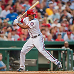 15 August 2017: Washington Nationals outfielder Michael Taylor in action against the Los Angeles Angels at Nationals Park in Washington, DC. The Nationals defeated the Angels 3-1 in the first game of their 2-game series. Mandatory Credit: Ed Wolfstein Photo *** RAW (NEF) Image File Available ***