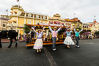 Disney performers and a street trolley on Main Street U.S.A., Magic Kingdom, Walt Disney World, Orlando, Florida USA