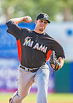 9 March 2013: Miami Marlins pitcher Jose Fernandez on the mound during a Spring Training game against the Washington Nationals at Space Coast Stadium in Viera, Florida. The Nationals edged out the Marlins 8-7 in Grapefruit League play. Mandatory Credit: Ed Wolfstein Photo *** RAW (NEF) Image File Available ***
