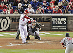 12 October 2012: Washington Nationals first baseman Adam LaRoche singles in the bottom of the 8th inning during Postseason Playoff Game 5 of the National League Divisional Series against the St. Louis Cardinals at Nationals Park in Washington, DC. The Cardinals stunned the home team with a four-run rally in the 9th inning to defeat the Nationals 9-7 and win the NLDS, moving on to the NL Championship Series. Mandatory Credit: Ed Wolfstein Photo