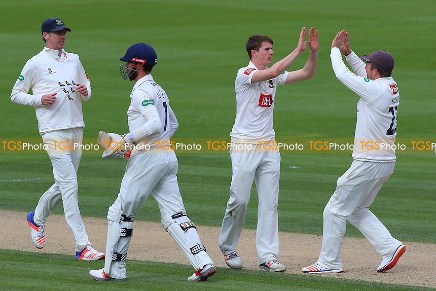 George Garton (2nd R) of Sussex celebrates taking the wicket of James Foster during Sussex CCC vs Essex CCC, Specsavers County Championship Division 2 Cricket at The 1st Central County Ground on 18th April 2016