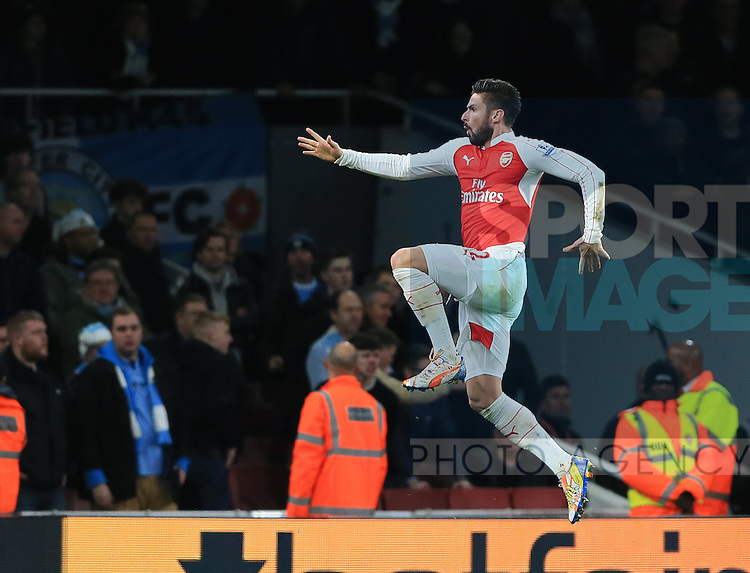Arsenal's Olivier Giroud celebrates scoring his sides second goal<br /> <br /> Barclays Premier League- Arsenal vs Manchester City - Emirates Stadium - England - 21st December 2015 - Picture David Klein/Sportimage