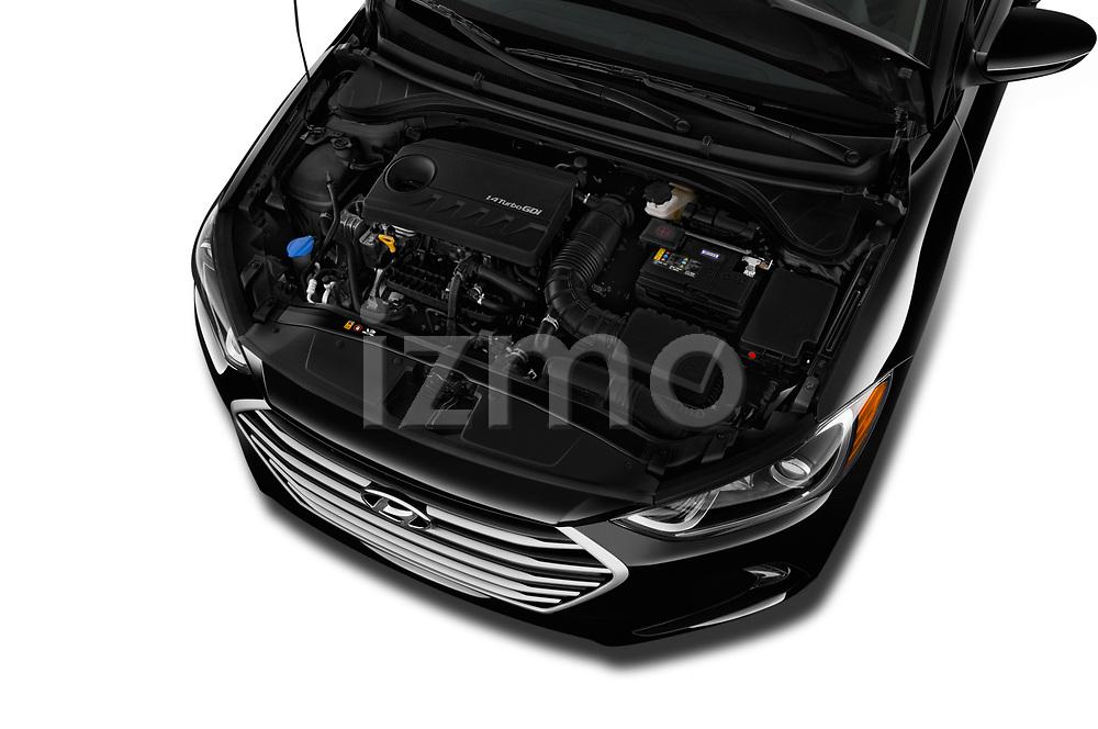 Car stock 2018 Hyundai Elantra ECO 4 Door Sedan engine high angle detail view