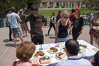 "Iron Chef judges were Amy Munoz and Robert Torres from Campus Dining and Jessica Gudmundson from UEPI. In a competition co-hosted by Vegheads and WellFed, teams of students battled against each other and the clock to prepare a meal with a variety of fresh organic produce, grains, legumes, cooking oils and spices. Congratulations to this year's winners: Team Spinach (Joyce Lee, Elise Hanson, Anika Lavine, Emma Schulte) won Team Congeniality. The ""Reigning Champs"" (Marah Bragdon and Renee Hytha) won Best Taste. The Cannibal Cabbages (Kelsey Palghat, Madi Ziomek, Adam Bookman Levy) won Most Creative. The Galarza Girls (Carly Zarrow and Lily Berrin) won Best Presentation. April 25, 2013 in the quad. (Photo by Marc Campos, Occidental College Photographer)"