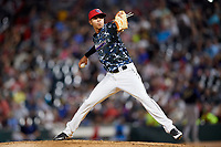 Jacksonville Jumbo Shrimp relief pitcher Jorgan Cavanerio (18) delivers a pitch during a game against the Mobile BayBears on April 14, 2018 at Baseball Grounds of Jacksonville in Jacksonville, Florida.  Mobile defeated Jacksonville 13-3.  (Mike Janes/Four Seam Images)