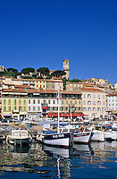France. Cannes.  View of Le Suquet from the old port.  Provence, Cote d'Azur.