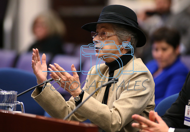 Lobbyist Carole Vilardo testifies in committee at the Legislative Building in Carson City, Nev., on Tuesday, Feb. 10, 2015. <br /> Photo by Cathleen Allison
