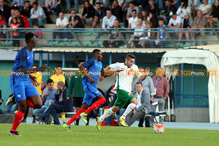 Aleksandar Georgiev of Bulgaria races upfield during Bulgaria Under-20 vs France Under-20, 2016 Toulon Tournament Football at Stade de Lattre on 20th May 2016
