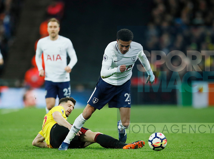 Dele Alli of Tottenham skips away during the premier league match at Wembley Stadium, London. Picture date 30th April 2018. Picture credit should read: David Klein/Sportimage