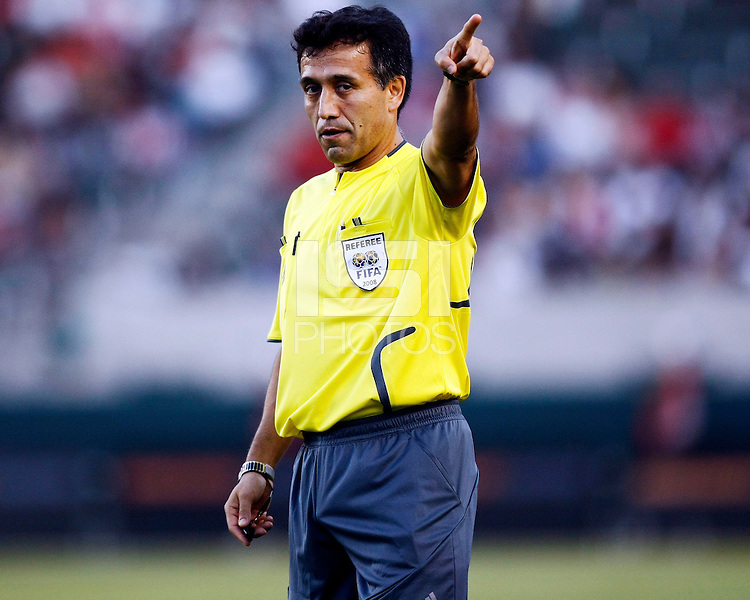 Head referee Mauricio Navarro points gives the signal for a corner kick during the 1st half. Chivas USA  took on the NY Red Bulls on June 28, 2008 at the Home Depot Center in Carson, CA. The game ended in a 1-1 tie.