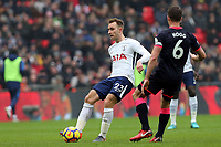 Jonathan Hogg of Huddersfield Town and Christian Eriksen of Tottenham Hotspur during Tottenham Hotspur vs Huddersfield Town, Premier League Football at Wembley Stadium on 3rd March 2018