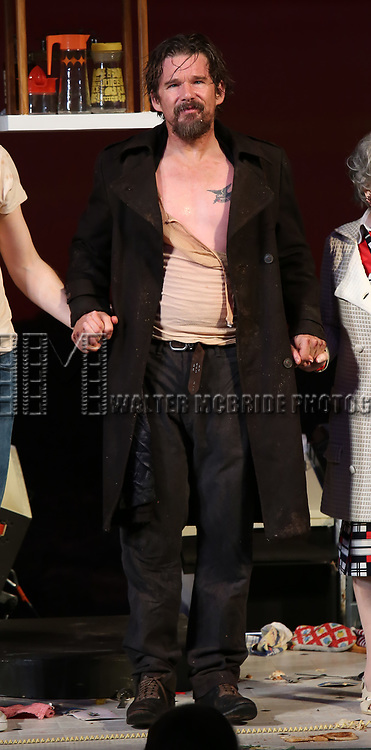 """Ethan Hawke during the Broadway Opening Night Curtain Call for the Roundabout Theatre Production of """"True West"""" at the American Airlines Theatre on January 24, 2019 in New York City."""