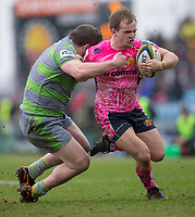 Exeter Cheifs' Stu Townsend is tackled by Newcastle Falcons' Jon Welsh<br /> <br /> Photographer Bob Bradford/CameraSport<br /> <br /> Anglo Welsh Cup Semi Final - Exeter Chiefs v Newcastle Falcons - Sunday 11th March 2018 - Sandy Park - Exeter<br /> <br /> World Copyright &copy; 2018 CameraSport. All rights reserved. 43 Linden Ave. Countesthorpe. Leicester. England. LE8 5PG - Tel: +44 (0) 116 277 4147 - admin@camerasport.com - www.camerasport.com