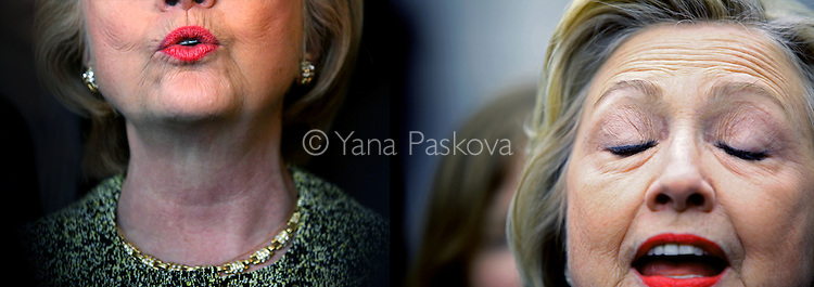 (L-R) U.S. Presidential candidate Hillary Clinton (D-NY) speaks at Jackson Diner in Queens, NY, on April 11, 2016; and campaigns near Yankee Stadium in the Bronx earlier that same day.