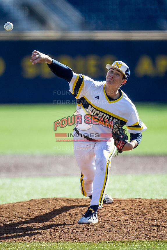 Michigan Wolverines pitcher Troy Miller (27) delivers a pitch to the plate against the Central Michigan Chippewas on March 29, 2016 at Ray Fisher Stadium in Ann Arbor, Michigan. Michigan defeated Central Michigan 9-7. (Andrew Woolley/Four Seam Images)