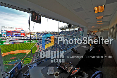 29 March 2008: The view from the Washington Nationals press box shows off the new facility and city skyline prior to an exhibition game against the Baltimore Orioles at Nationals Park, in Washington, DC. The matchup is the first professional game to be played in the new ballpark, prior to the upcoming official opening day inaugural game. ..Mandatory Photo Credit: Ed Wolfstein Photo
