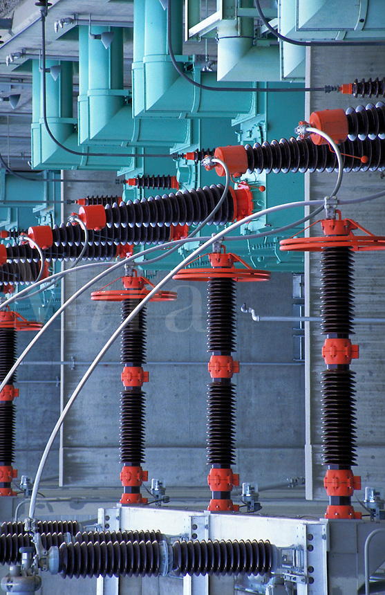 Electrical equipment at Grand Coulee Dam site.