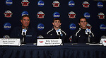 10 December 2009: From left: head coach Elmar Bolowich, Billy Schuler, and Zach Loyd. The University of North Carolina Tar Heels held a press conference at WakeMed Soccer Stadium in Cary, North Carolina on the day before playing Akron in an NCAA Division I Men's College Cup semifinal game.