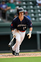 Shortstop Ryan Fitzgerald (24) of the Greenville Drive bats in Game 1 of a doubleheader against the Hickory Crawdads on Wednesday, July 25, 2018, at Fluor Field at the West End in Greenville, South Carolina. Greenville won, 4-1. (Tom Priddy/Four Seam Images)